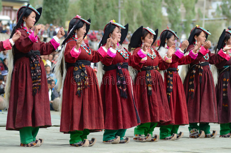 Kunstenaars op Festival van Erfenis Ladakh royalty-vrije stock afbeelding