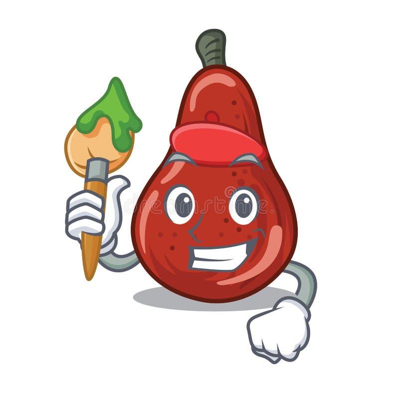 Kunstenaars rode peren in de karaktervorm stock illustratie