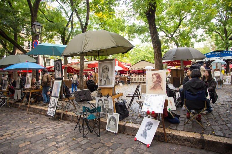 Kunstenaars Vierkante Montmartre Parijs royalty-vrije stock afbeeldingen