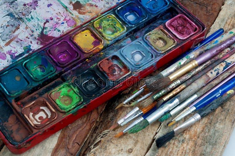 Kunstenaarshulpmiddelen van de handel stock foto's