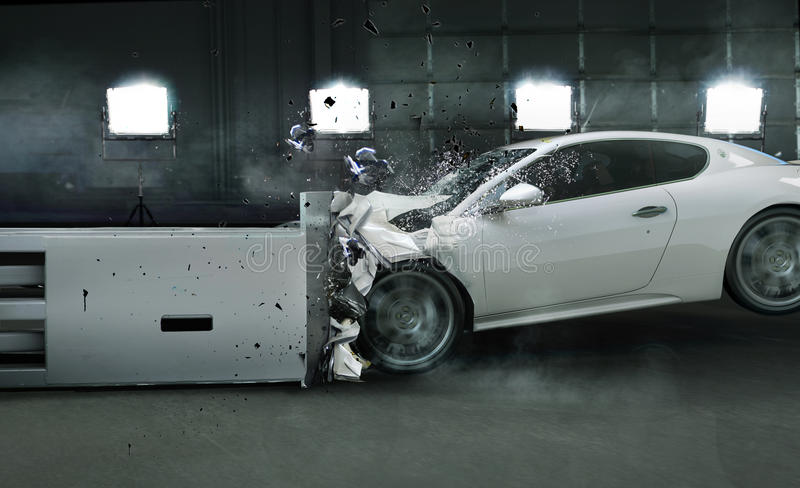 Kunstfoto van verpletterde auto stock afbeelding
