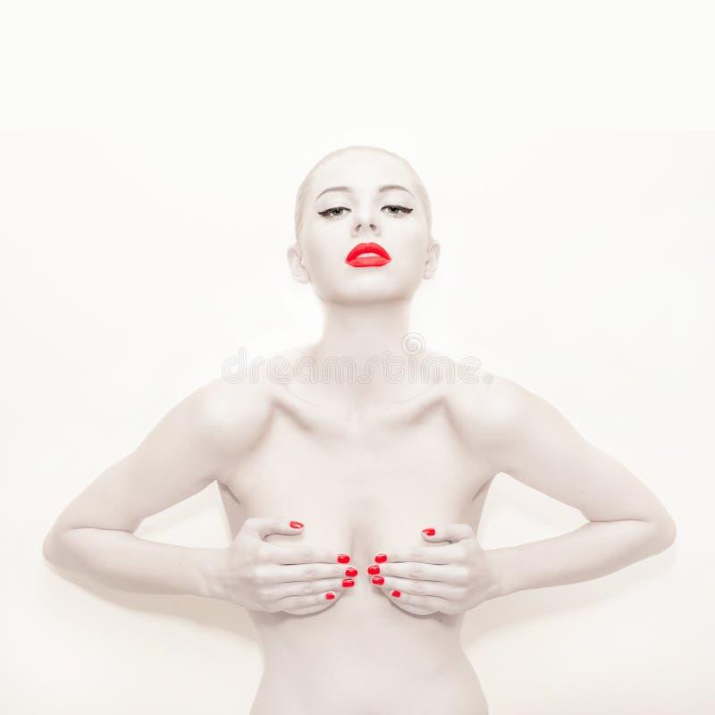 Kunstfotografie met rode lippen stock afbeelding