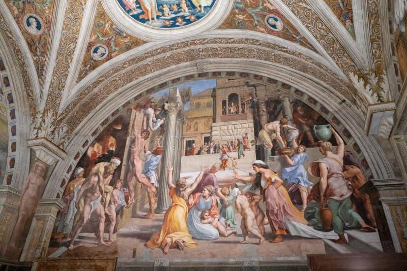 Kunstfresko in Vatikan lizenzfreie stockbilder