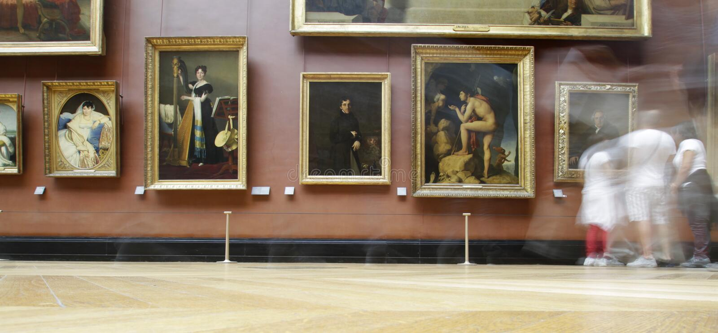 Kunstgalerie am Louvre mit Bewegungszittern lizenzfreies stockbild