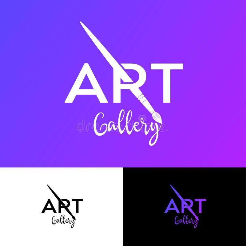 Kunstgalerielogo R-Monogramm mit Art Brush Künstlerisches Schul-oder Galerie-Emblem vektor abbildung