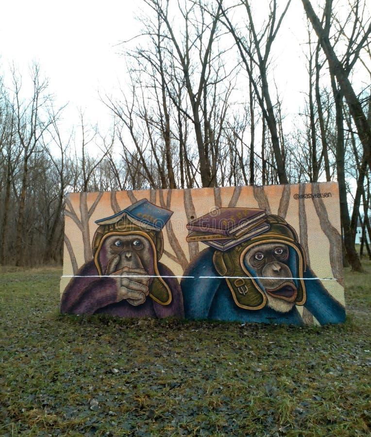 Kunstgraffitiaffe stockbild