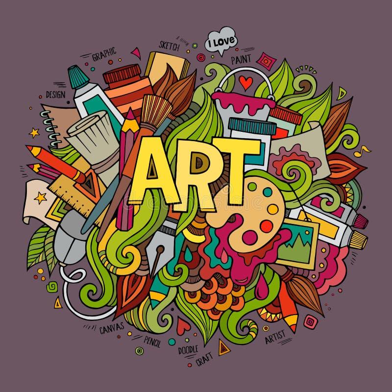 Kunsthand het van letters voorzien en krabbelselementen stock illustratie