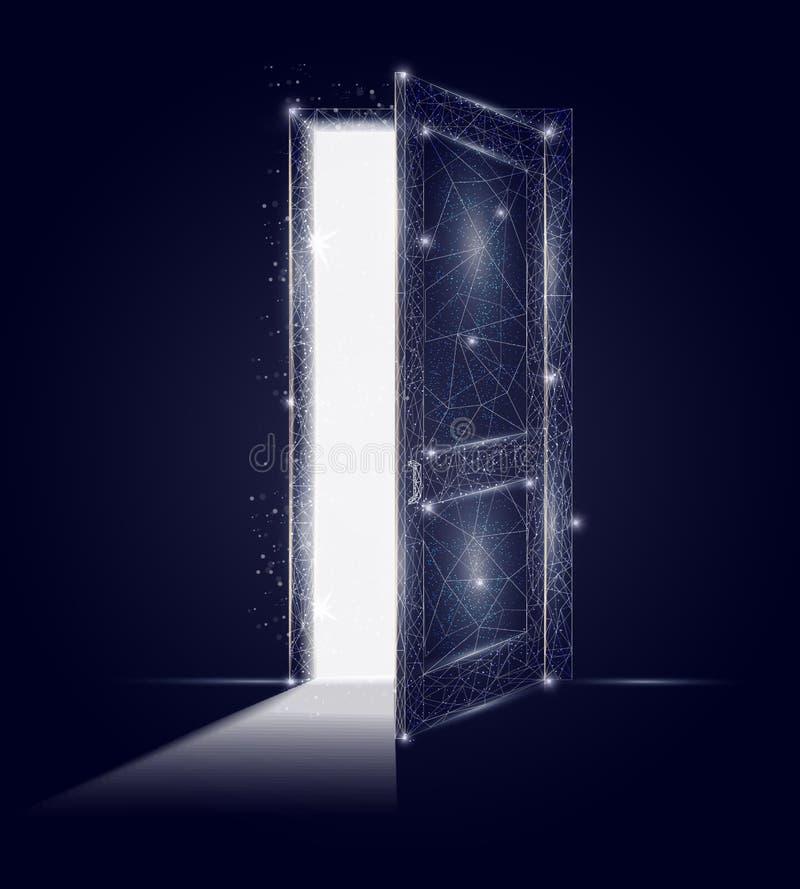 Kunsthintergrund des Vektors der offenen Tür geometrischer polygonaler lizenzfreie abbildung