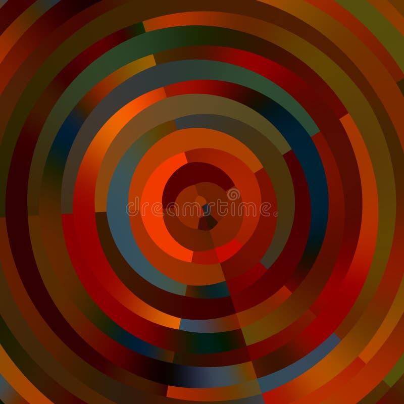 Kunstillustration Moderne Auslegung Dekorative dekorative Ringe entziehen Sie Hintergrund Farbrad Färben Sie Streifen Runde Struk stock abbildung