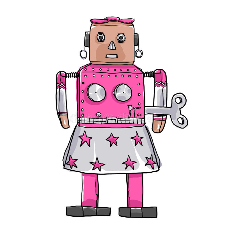 Kunstillustration Spielzeugs Venus Robots RetroTin gezeichnete nette Hand stock abbildung
