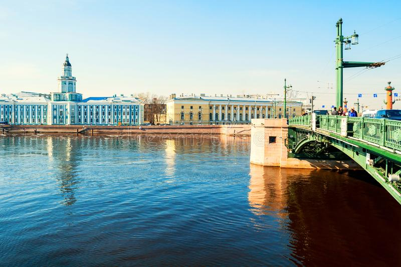 Kunstkamera大厦、动物学博物馆和宫殿桥梁在内娃河在圣彼德堡,俄罗斯 库存图片