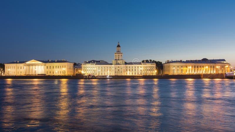 Kunstkamera και ποταμός Neva τη νύχτα, Αγία Πετρούπολη, Ρωσία στοκ εικόνες