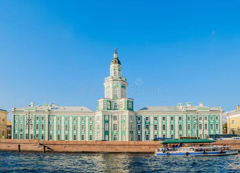Kunstkamera building at the University embankment of Neva river in Saint Petersburg, Russia royalty free stock photo