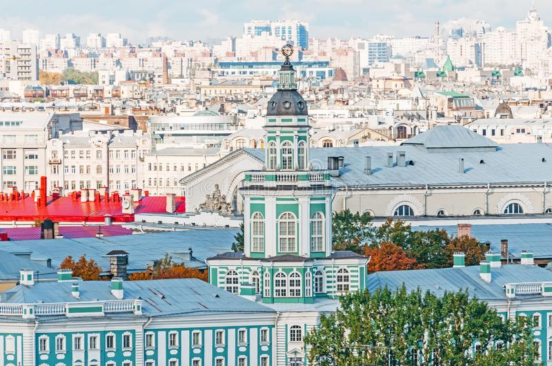 Kunstkamera from a height and roofs of houses panorama of the city Petersburg. stock photos