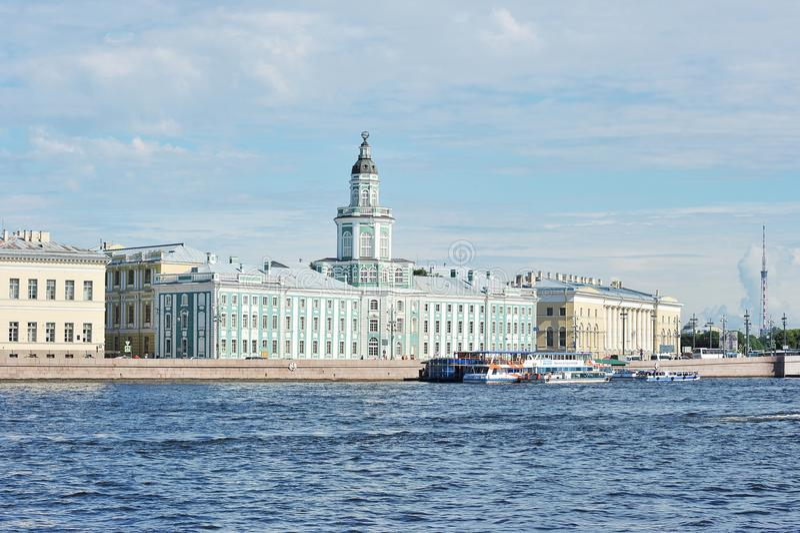 The Kunstkamera Museum in Saint-Petersburg on the University embankment of the Neva river royalty free stock photos