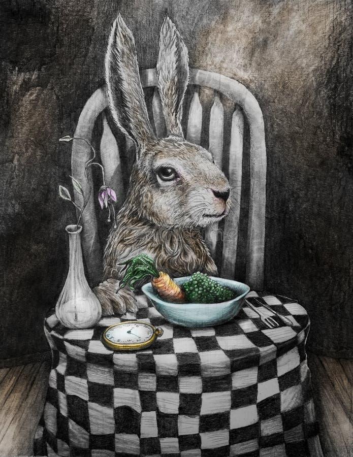 Kunstkaninchen bei Tisch, das Erbsen und Karotten isst vektor abbildung
