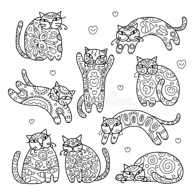 Kunstkatten met bloemenornament voor uw ontwerp stock illustratie