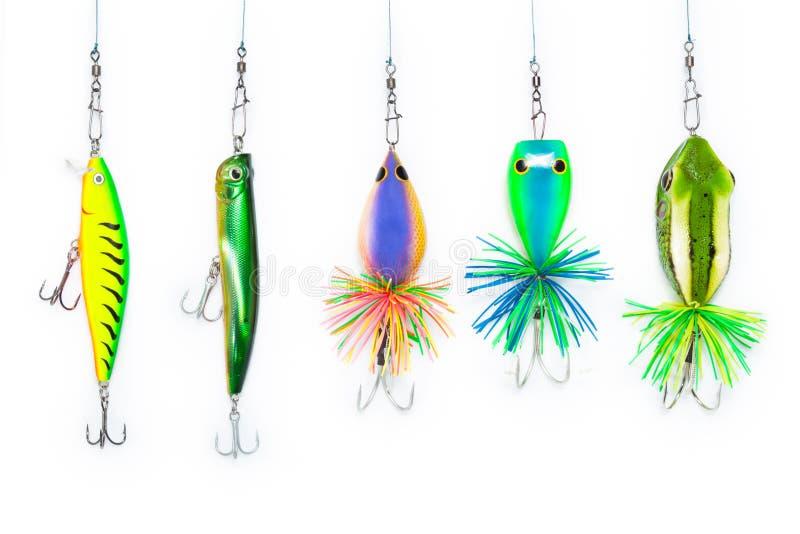 Kunstmatig aas voor visserij op witte achtergrond stock foto