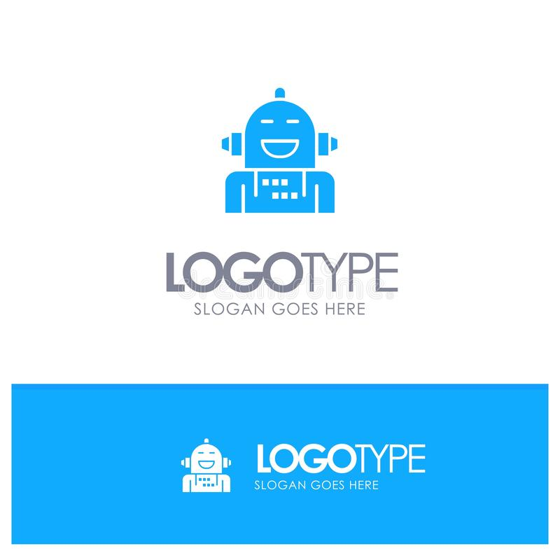 Kunstmatig Android, Emotie die, Emotioneel, Blauw Stevig Embleem met plaats voor tagline voelen stock illustratie