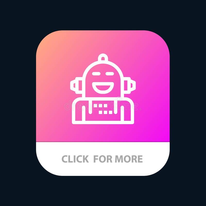 Kunstmatig Android, Emotie die, Emotioneel, Mobiele toepassingknoop voelen Android en IOS Lijnversie royalty-vrije illustratie