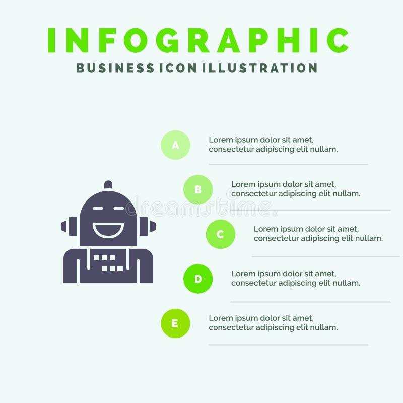 Kunstmatig Android, Emotie die, Emotioneel, Stevig Pictogram Infographics 5 voelen de Achtergrond van de Stappenpresentatie royalty-vrije illustratie