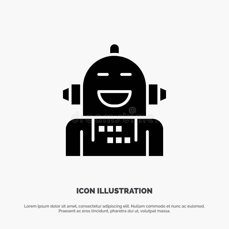 Kunstmatig Android, Emotie die, Emotioneel, stevige Glyph-Pictogramvector voelen vector illustratie