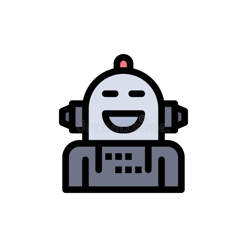 Kunstmatig Android, Emotie die, Emotioneel, Vlak Kleurenpictogram voelen Het vectormalplaatje van de pictogrambanner stock illustratie