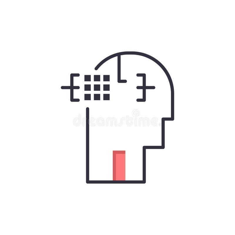 Kunstmatig, Menselijk, Mens, leid Vlak Kleurenpictogram Het vectormalplaatje van de pictogrambanner royalty-vrije illustratie