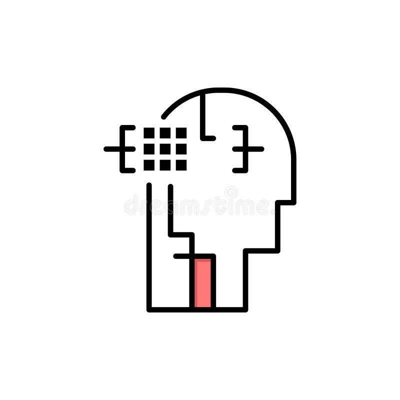 Kunstmatig, Menselijk, Mens, leid Vlak Kleurenpictogram Het vectormalplaatje van de pictogrambanner vector illustratie