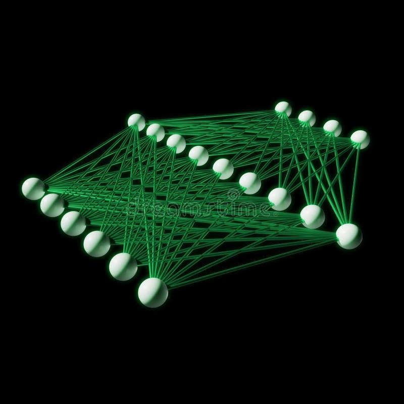 Kunstmatig neuraal netwerk, 3d structuurmodel royalty-vrije illustratie