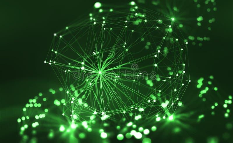 Kunstmatig Neuraal Netwerk Groot gegevensconcept Kunstmatige intelligentie in de technologie van de toekomst stock illustratie