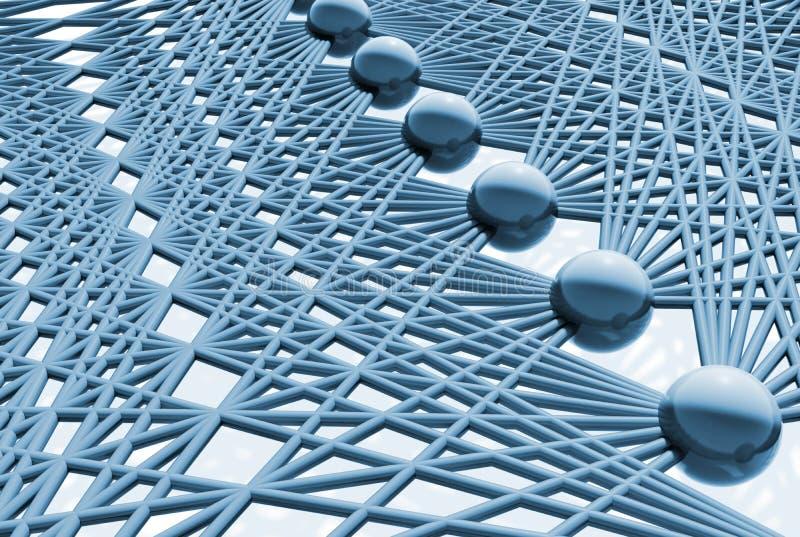 Kunstmatig neuraal netwerk, verborgen 3d laag stock illustratie