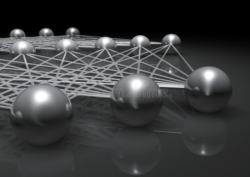 Kunstmatig ondiep neuraal netwerkfragment, CG royalty-vrije illustratie