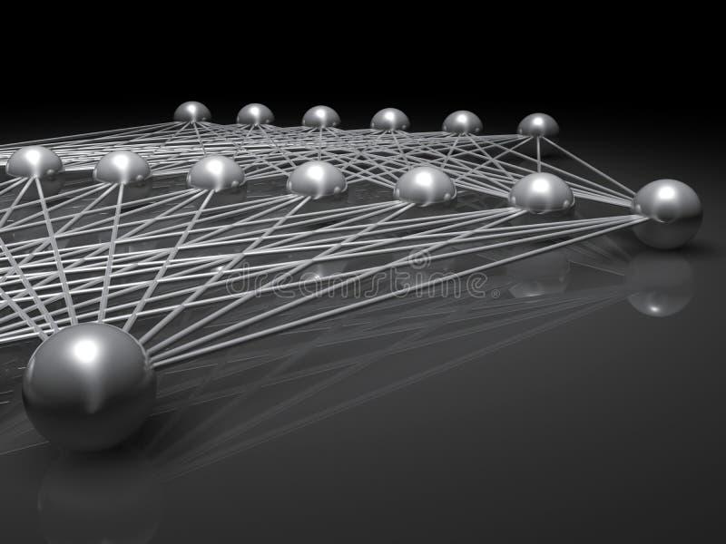 Kunstmatig ondiep neuraal netwerkfragment 3 D vector illustratie