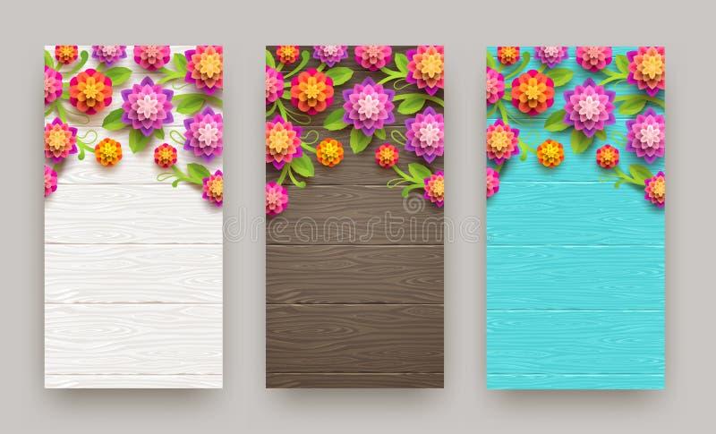 Kunstmatige document bloemen op een houten plankachtergrond met exemplaarruimte Drie banners vector illustratie