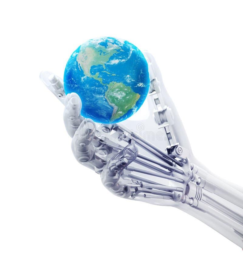 Kunstmatige hand die een wereldbol houden royalty-vrije illustratie