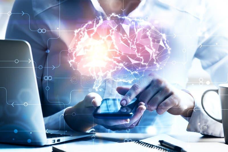 Kunstmatige hersenen op het werk stock illustratie