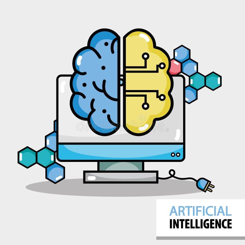 Kunstmatige hersenenkringen met computertechnologie royalty-vrije illustratie