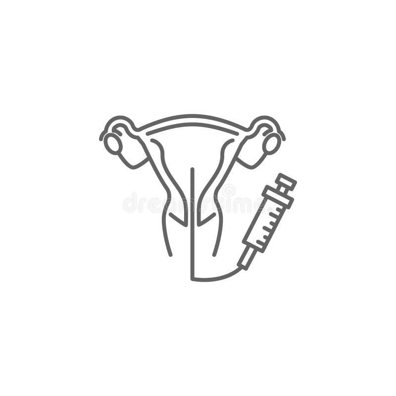 Kunstmatige inseminatie, baarmoederpictogram Element van kunstmatige inseminatiepictogram Dun lijnpictogram voor websiteontwerp e stock illustratie