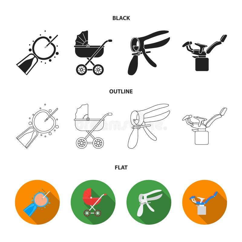 Kunstmatige inseminatie, kinderwagen, instrument, gynaecologische stoel Pictogrammen van de zwangerschaps de vastgestelde inzamel stock illustratie