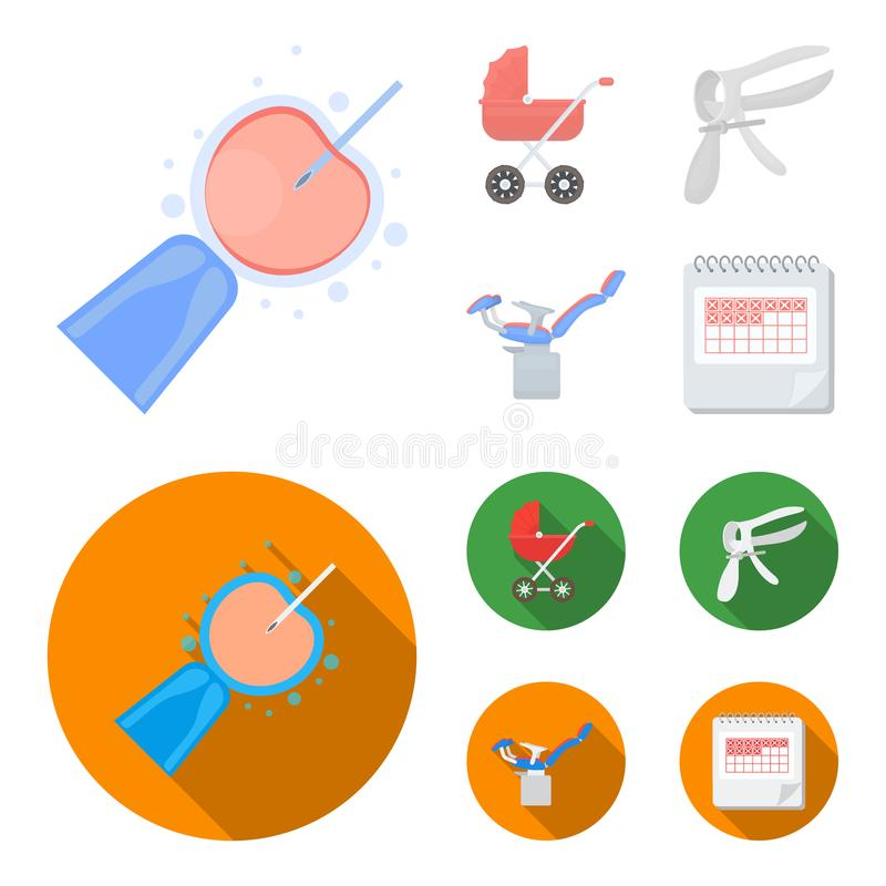 Kunstmatige inseminatie, kinderwagen, instrument, gynaecologische stoel Pictogrammen van de zwangerschaps de vastgestelde inzamel vector illustratie