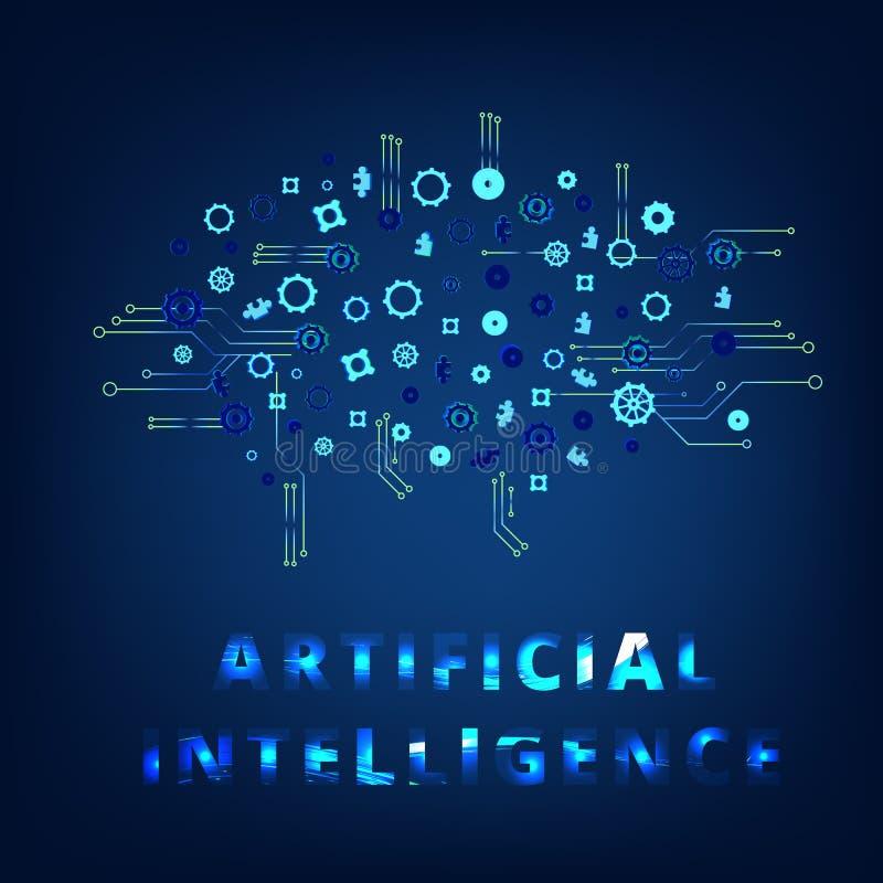 Kunstmatige intelligentie AI brieven Vector illustratie vector illustratie