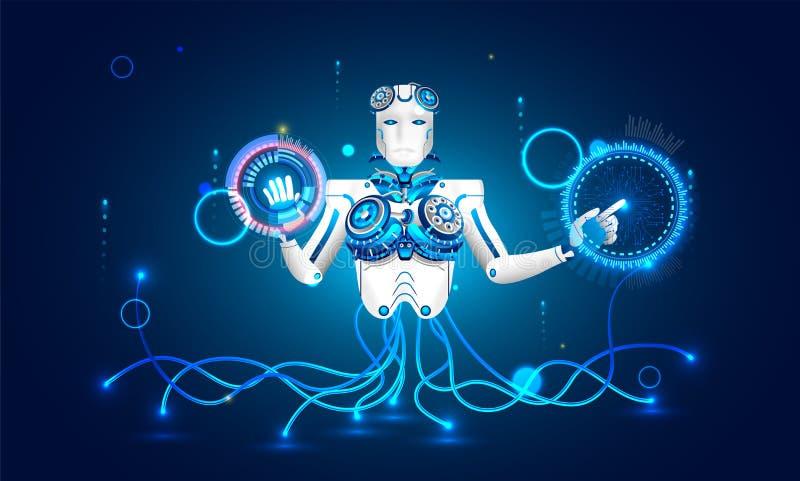 Kunstmatige intelligentie (AI) concept, illustratie van humanoid stock illustratie