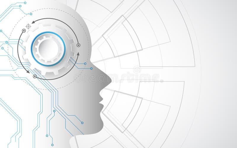 Kunstmatige intelligentie AI digitale technologie voortaan Virtueel concept Vector illustratieachtergrond royalty-vrije illustratie