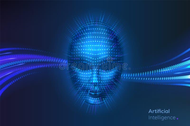 Kunstmatige intelligentie of AI, robot digitaal gezicht vector illustratie
