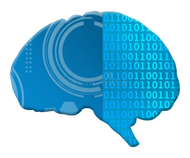 Kunstmatige intelligentie Binaire Techy Hersenen vector illustratie