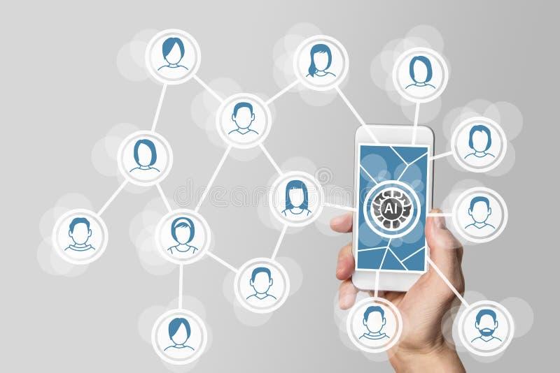Kunstmatige intelligentie en diep het leren concept in sociale en mobiele netwerken stock illustratie