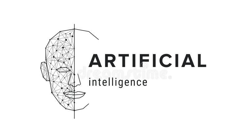 Kunstmatige intelligentie Futuristisch wetenschapsconcept Menselijke gezichts veelhoekige, futuristische moderne technologie vector illustratie