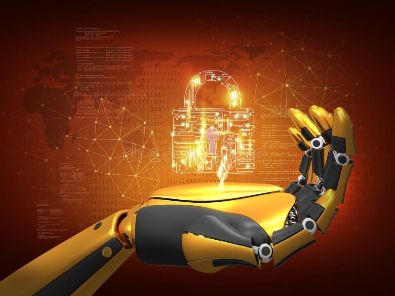 Kunstmatige intelligentie, gegevensbeveiliging, privacyconcept, het slot van de robotholding, 3D teruggevende abstracte achtergro stock illustratie