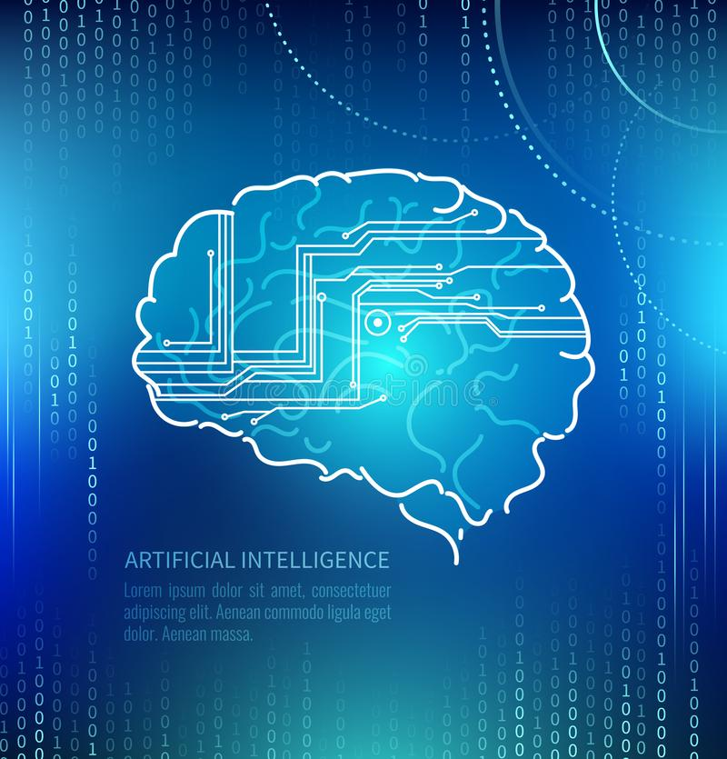 Kunstmatige intelligentie, hersenen en kringen vector illustratie